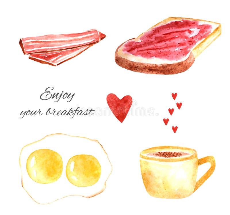 Voedsel van het waterverf het smakelijke ontbijt vector illustratie