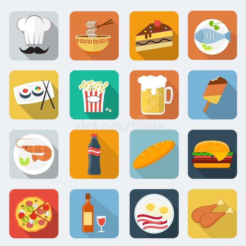 Voedsel vlakke pictogrammen royalty-vrije illustratie