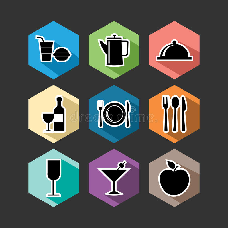 Voedsel vlakke pictogrammen geplaatst illustratie royalty-vrije illustratie