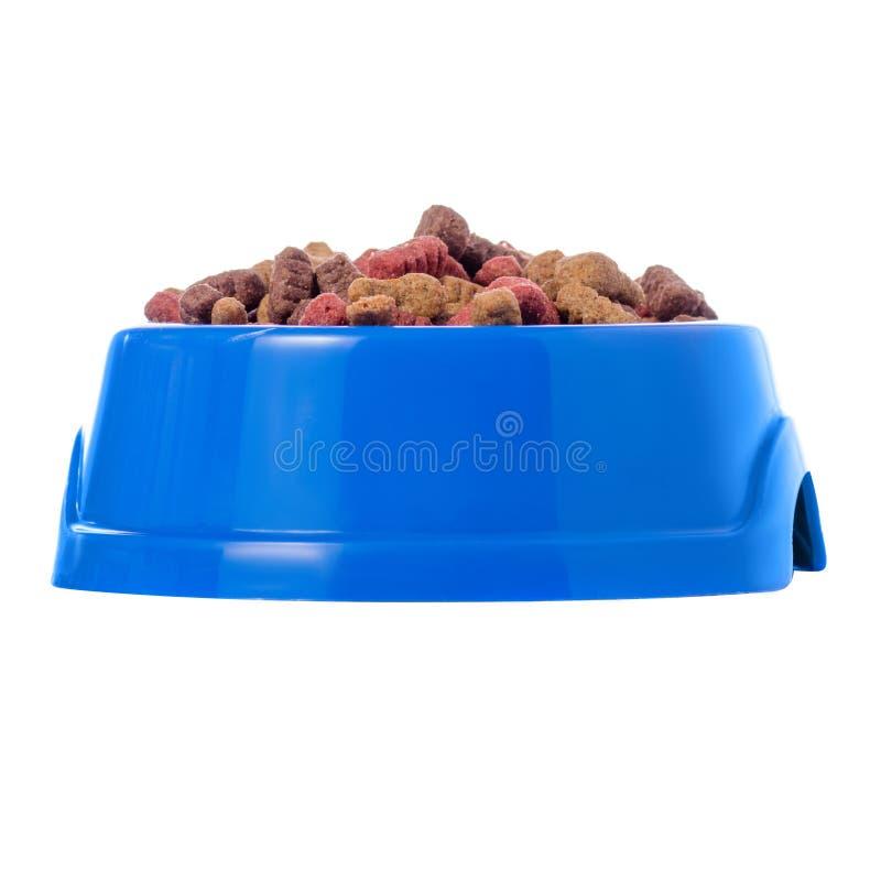 Voedsel voor honden en katten in een blauwe kom stock fotografie