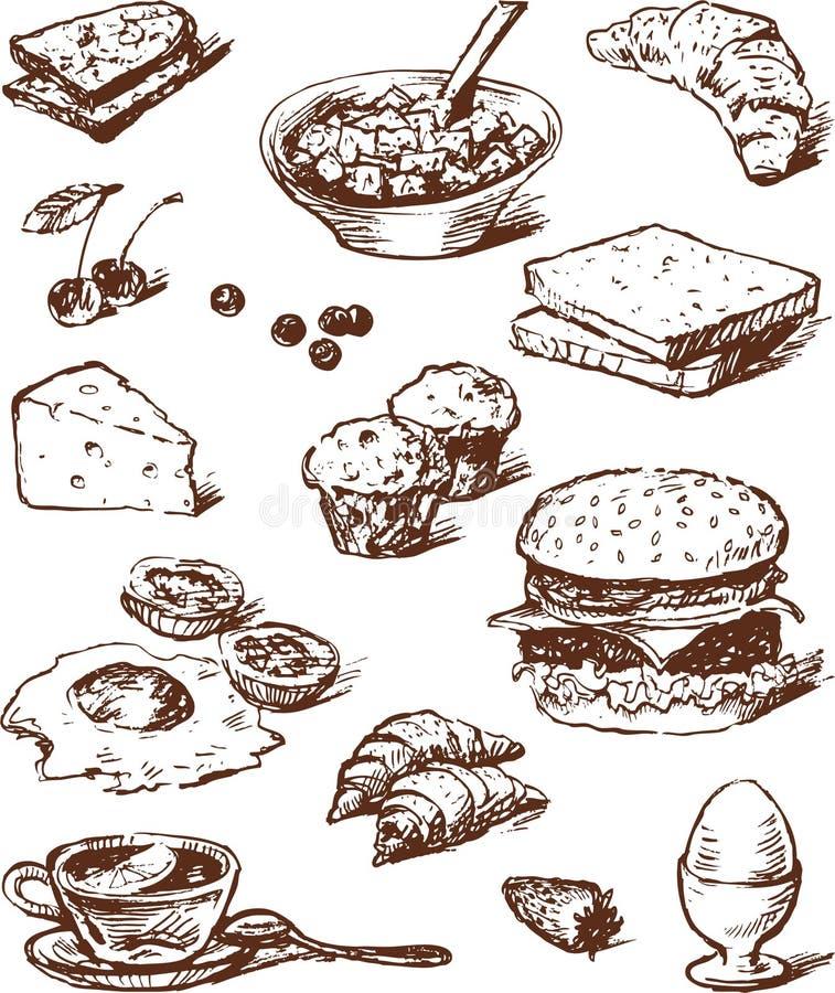 Voedsel voor ontbijt vector illustratie