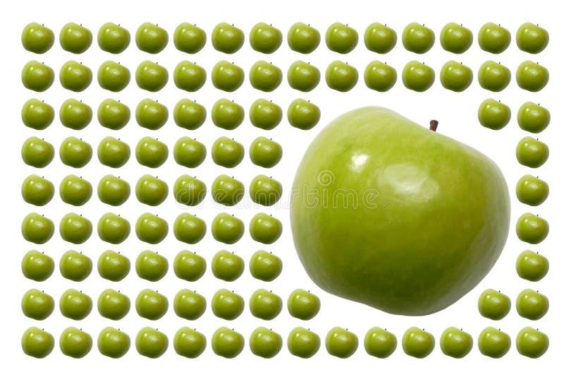 Voedsel, Vruchten, Groene Appel met Staart stock afbeelding