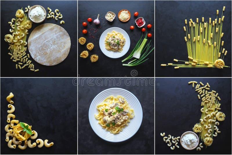Voedselcollage met de schotels van verscheidenheidsdeegwaren op een zwarte achtergrond royalty-vrije stock afbeeldingen