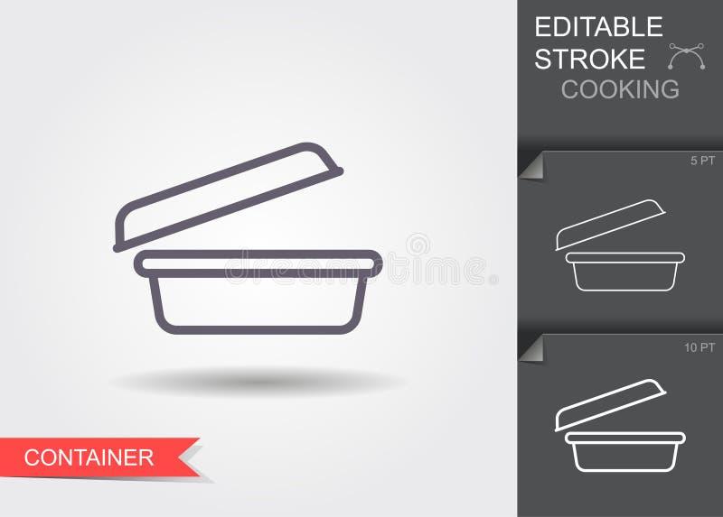 Voedselcontainer Lijnpictogram met editable slag met schaduw royalty-vrije illustratie