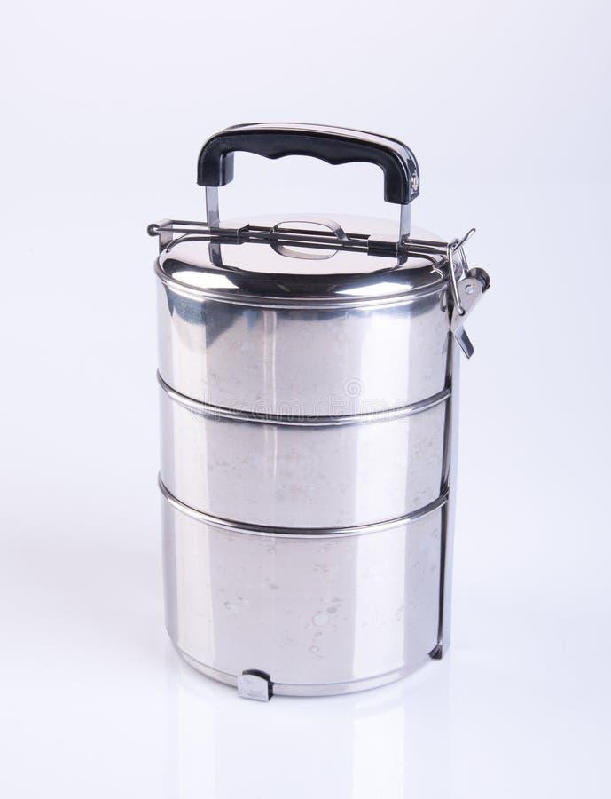 voedselcontainers of de containers van het roestvrij staalvoedsel op een backgrou stock foto