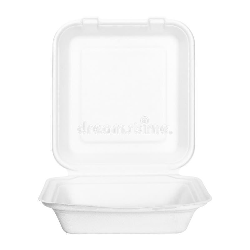 Voedseldoos of container op witte achtergrond wordt geïsoleerd die Snel die voedselpakket van natuurlijk document materiaal wordt stock afbeeldingen