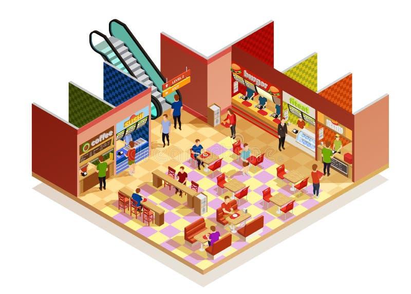 Voedselhof Isometrische Samenstelling royalty-vrije illustratie
