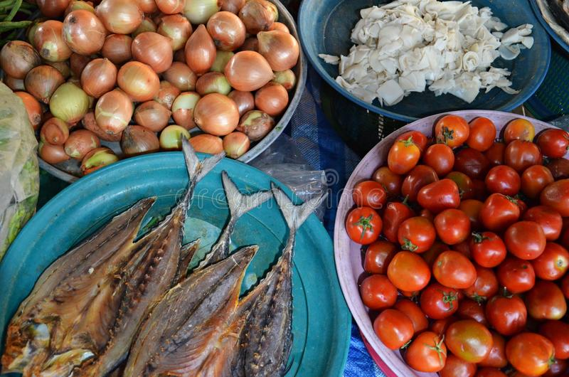 Voedselingrediënten bij markt royalty-vrije stock foto