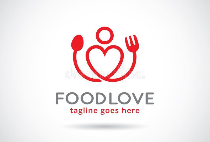 Voedselliefde Logo Template Design Vector, Embleem, Ontwerpconcept, Creatief Symbool, Pictogram royalty-vrije illustratie