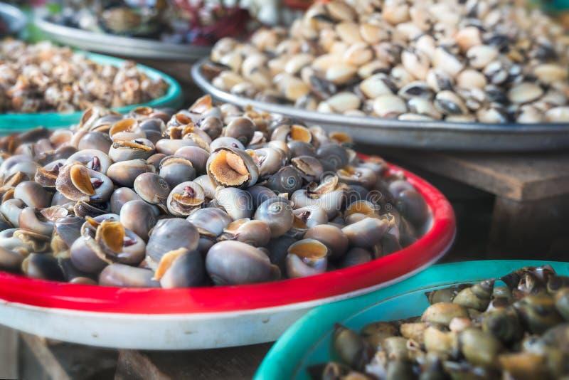 Voedselmarkt met Tweekleppige schelpdieren royalty-vrije stock foto