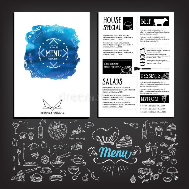 Voedselmenu, het ontwerp van het restaurantmalplaatje Vliegerkoffie Brochure vint royalty-vrije illustratie