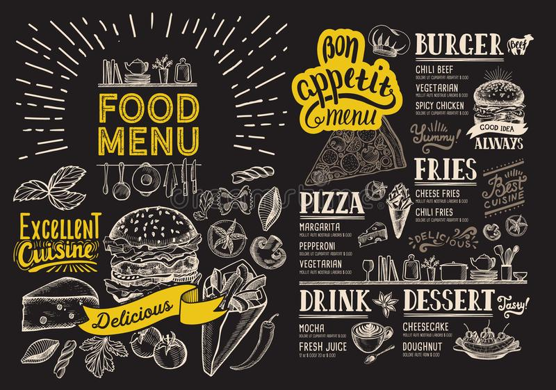 Voedselmenu voor restaurant met hamburger Vectorvoedselvlieger voor bar vector illustratie
