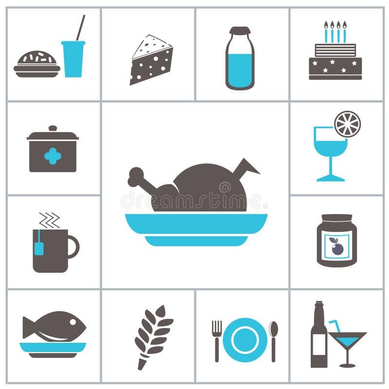 Voedselpictogrammen stock illustratie