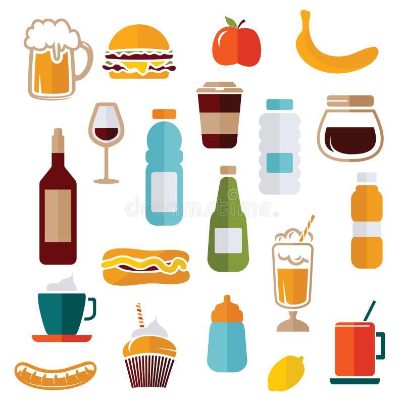 Voedselpictogrammen - voedseletiketten stock illustratie