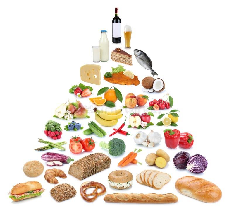 Voedselpiramide gezonde het eten vruchten en groentenfruitcollecti royalty-vrije stock fotografie