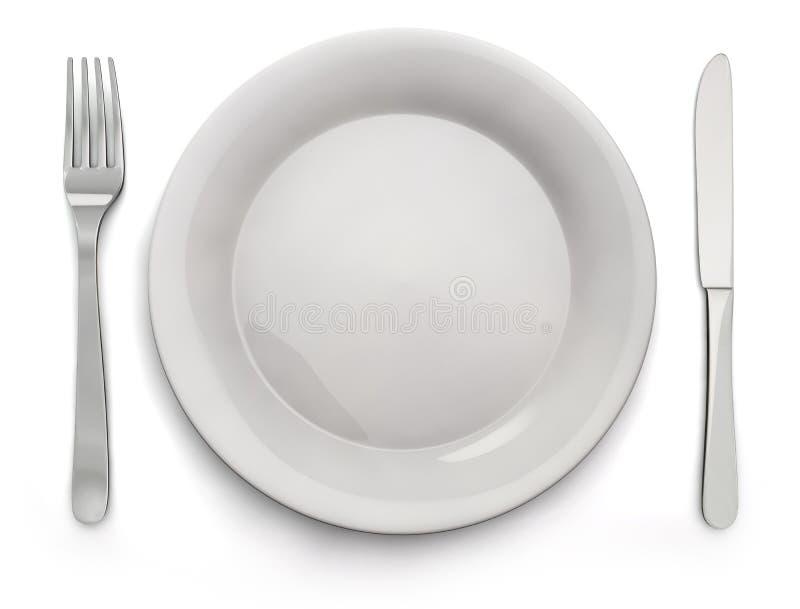 Voedselplaat, Mes, Vork - Voorraadbeeld vector illustratie