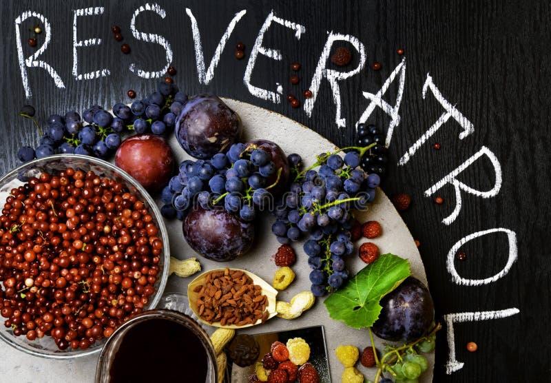 voedselrijken met resveratrol, druiven, pruimen, goji, pinda's, Amerikaanse veenbes, raspberrys, donkere chocolade, rode wijn stock fotografie