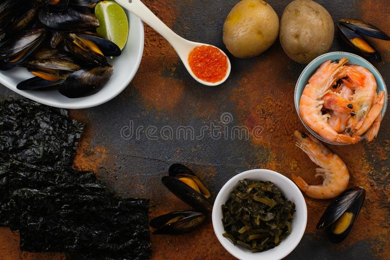 Voedselrijken van jodium stock fotografie