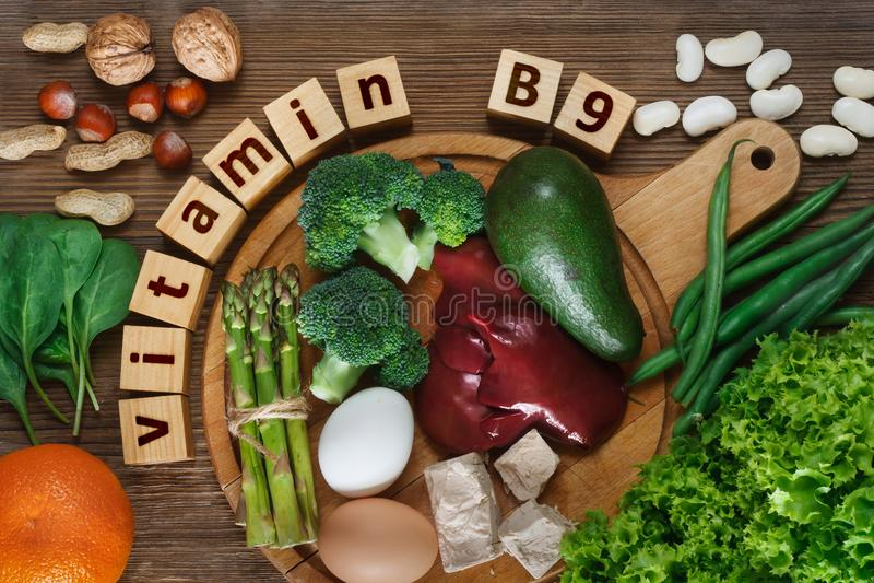 Voedselrijken in vitamine B9 royalty-vrije stock foto