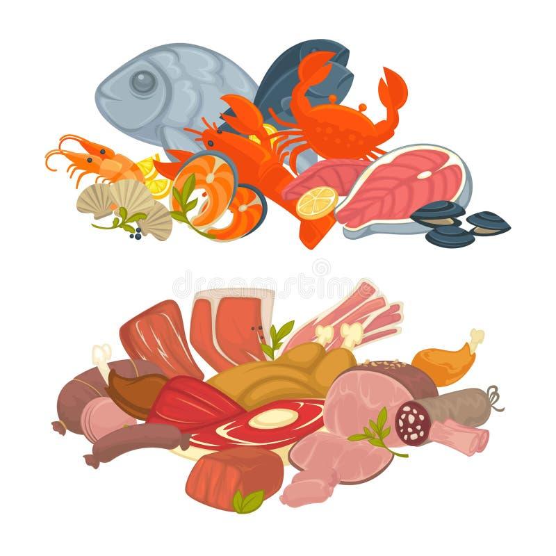 Voedselvlees, vissen en geplaatste zeevruchten vector vlakke pictogrammen stock illustratie