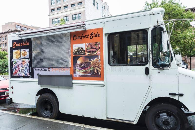 Voedselvrachtwagen in Harlem in de Stad van New York, de V.S. stock afbeeldingen