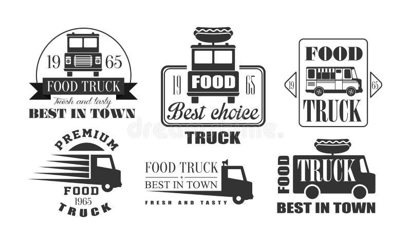 Voedselvrachtwagen, het best in Stadspremie Retro Logo Templates Set, het best in Stad, Smakelijke Snel Voedsel Uitstekende Zwart royalty-vrije illustratie