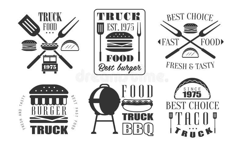 Voedselvrachtwagen Retro Logo Templates Set, de Verse en Smakelijke Vectorillustratie van Snel Voedsel Uitstekende Etiketten stock illustratie
