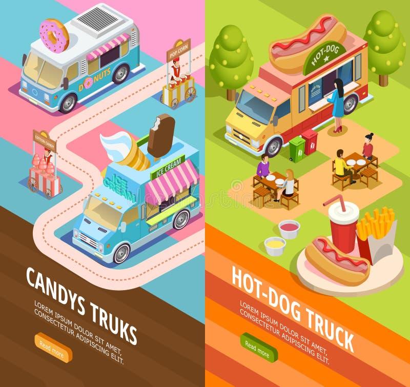 Voedselvrachtwagens 2 Verticale Isometrische banners vector illustratie