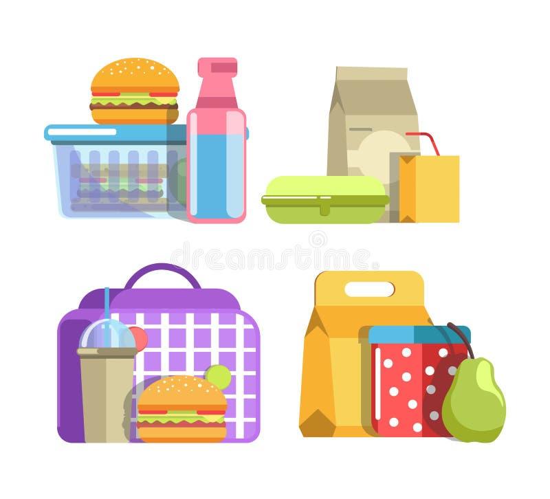 Voedzame schoolmaaltijden in containers geïsoleerde geplaatste illustraties royalty-vrije illustratie