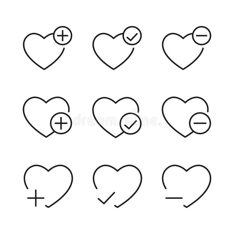 Voeg aan favorieten toe, verwijder uit de pictogrammen van de wishlistlijn op witte B worden geplaatst die royalty-vrije illustratie