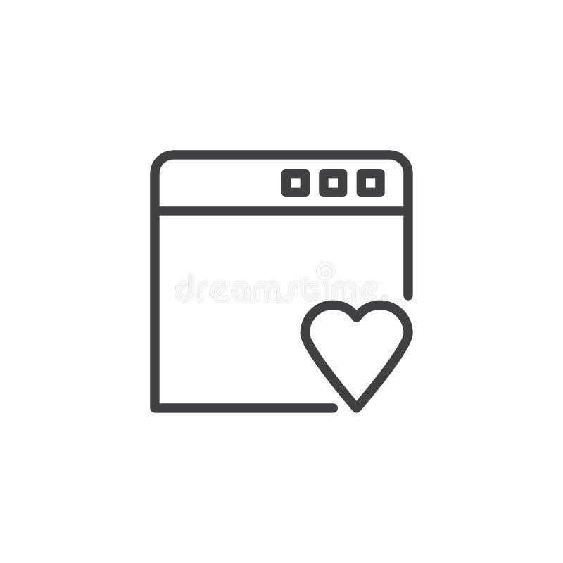 Voeg aan het favoriete pictogram van het referentieoverzicht toe royalty-vrije illustratie