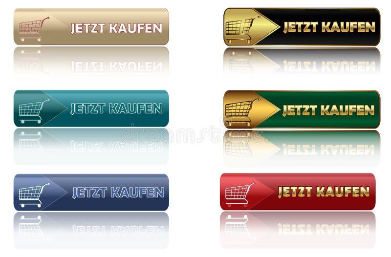 JETZT KAUFEN - reeks Duitse Webknopen stock illustratie