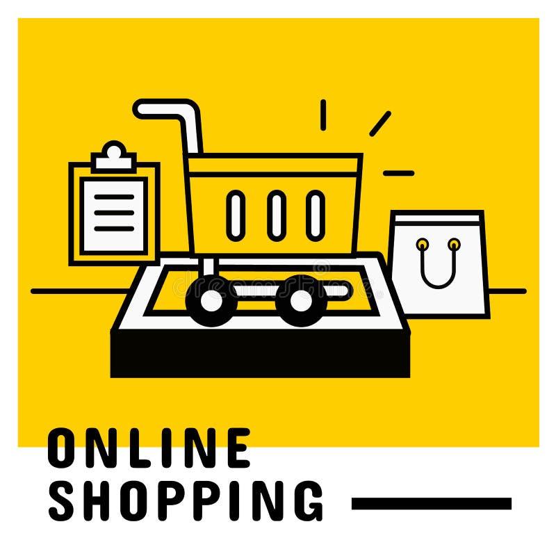 Voeg aan kar op mobiel, online het winkelen concept toe vector illustratie