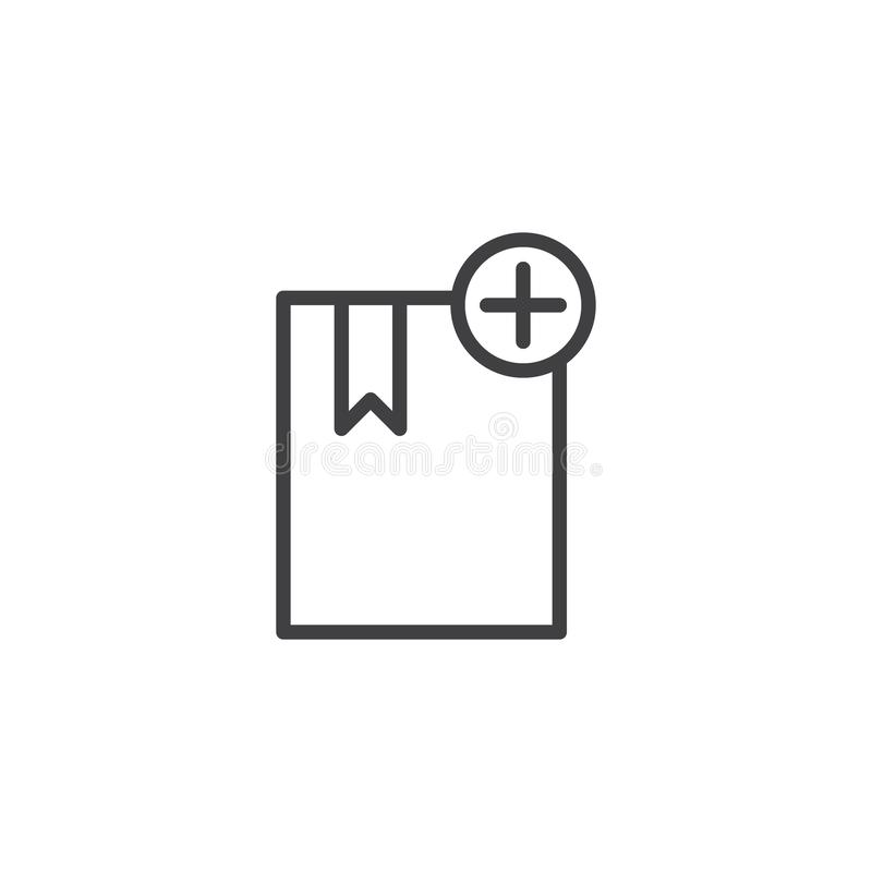 Voeg de lijnpictogram toe van het referentieboek stock illustratie