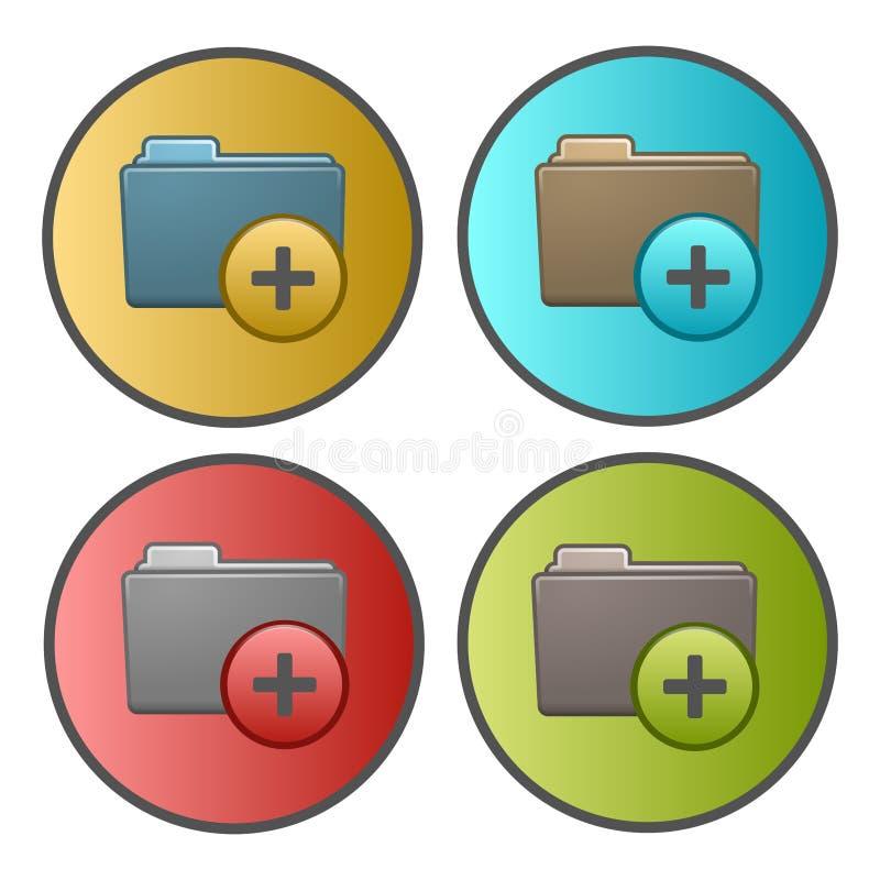 Voeg een het pictogramrondschrijven toe van de omslag nieuw omslag Vier kleurenvariaties, gradiëntachtergrond stock illustratie