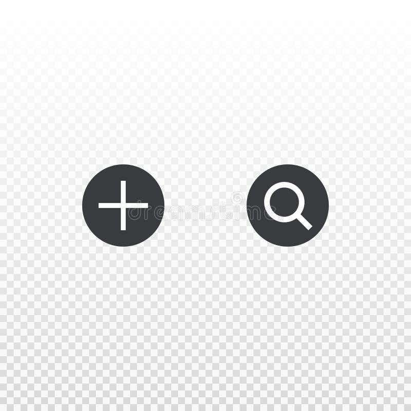 Voeg en zoek pictogram toe op transparante achtergrond wordt geïsoleerd die Element voor ontwerponderzoek, app, praatje, boodscha royalty-vrije illustratie