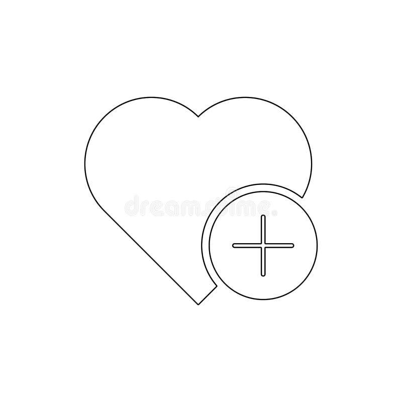 Voeg favoriet hart zoals liefde plus overzichtspictogram toe De tekens en de symbolen kunnen voor Web, embleem, mobiele toepassin stock illustratie