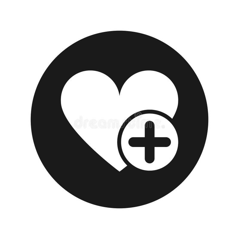 Voeg favoriete vlakke zwarte ronde de knoop vectorillustratie toe van het hartpictogram royalty-vrije illustratie
