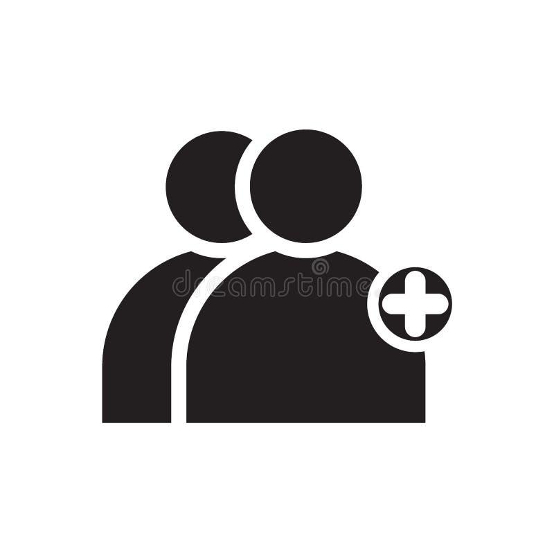 Voeg gebruikers zwart stevig pictogram toe vector illustratie