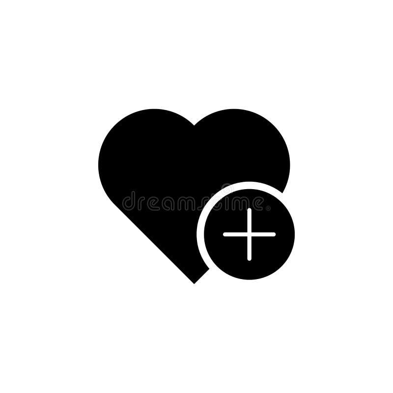 Voeg hart favoriet pictogram toe De tekens en de symbolen kunnen voor Web, embleem, mobiele toepassing, UI, UX worden gebruikt vector illustratie