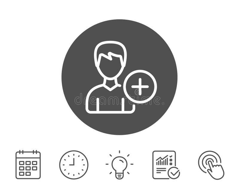 Voeg het pictogram van de gebruikerslijn toe Profielavatar teken royalty-vrije illustratie