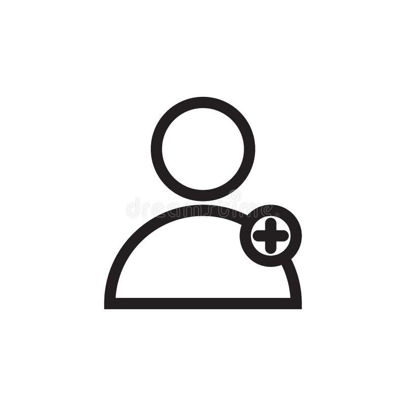Voeg pictogram van de gebruikers het zwarte lijn toe vector illustratie