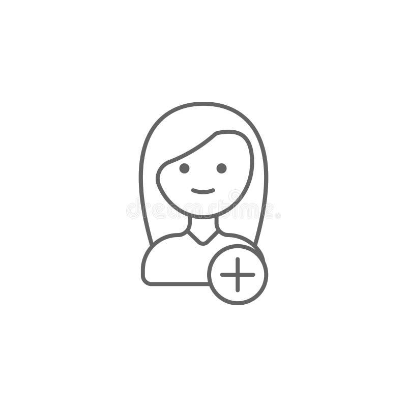Voeg toe, nieuw, vriendenpictogram Element van vriendschapspictogram Dun lijnpictogram voor websiteontwerp en ontwikkeling, app o royalty-vrije illustratie