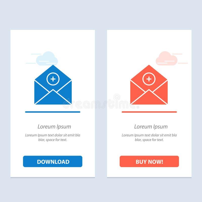 Voeg, toe:voegen-Post, Mededeling, E-mail toe, post Blauwe en Rode Download en koop nu de Kaartmalplaatje van Webwidget stock illustratie