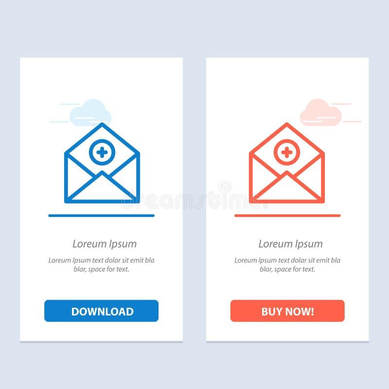 Voeg, toe:voegen-Post, Mededeling, E-mail toe, post Blauwe en Rode Download en koop nu de Kaartmalplaatje van Webwidget royalty-vrije illustratie