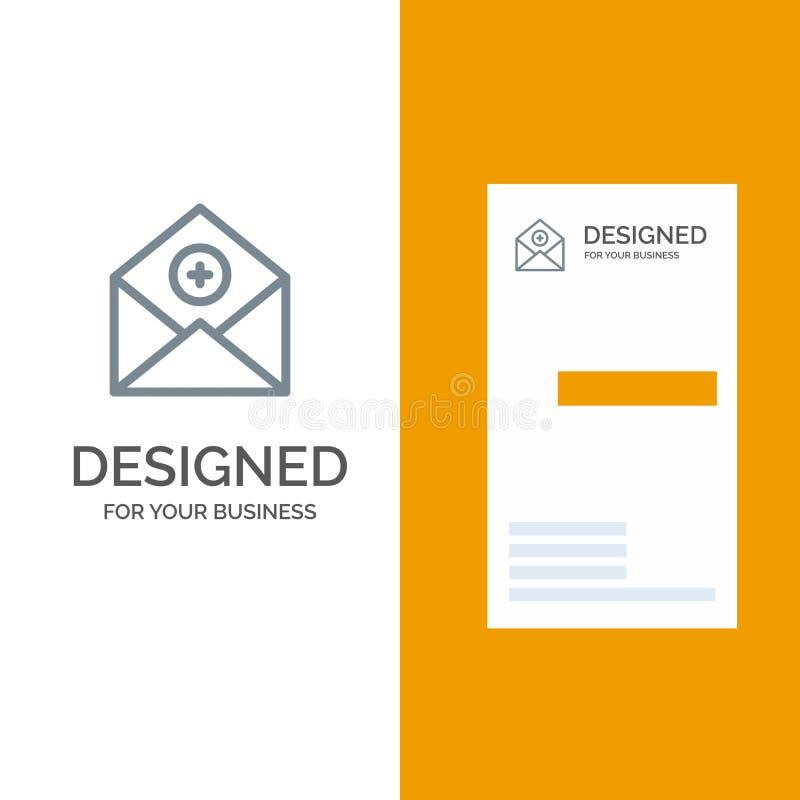 Voeg, toe:voegen-Post, Mededeling, E-mail, Post Grey Logo Design en Visitekaartjemalplaatje toe stock illustratie
