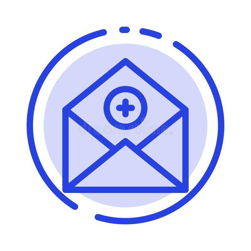 Voeg, toe:voegen-Post, Mededeling, E-mail toe, post het Blauwe Pictogram van de Gestippelde Lijnlijn royalty-vrije illustratie