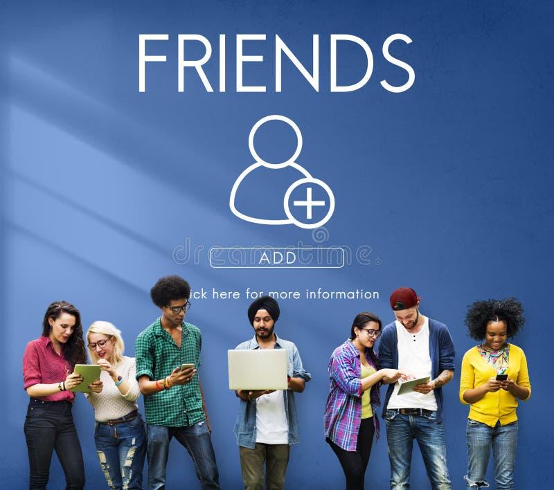 Voeg Vrienden Sociaal Media Grafisch Concept toe stock afbeeldingen