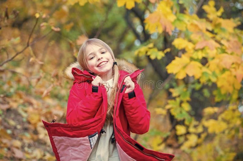 Voel zo comfortabel in warm jasje Het meisje gelukkig in laag geniet van het park van de dalingsaard De modieuze laag van de kind stock foto