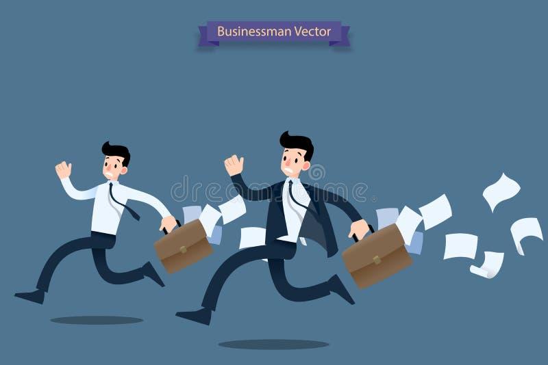 Voelen de zakenman lopende stormloop in zeven haasten door het werk laat met koffer en de dalende documenten erachter en zeer bez stock illustratie